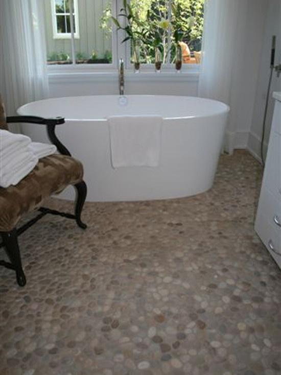 Island Stone Pebble Bathroom Floor