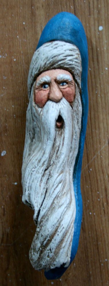 WOOD Carved Ho Ho Ho BLUE SANTA Claus Lisa Rogers ORIGINAL Carving