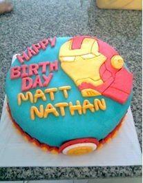 Ironman fondant icing cake