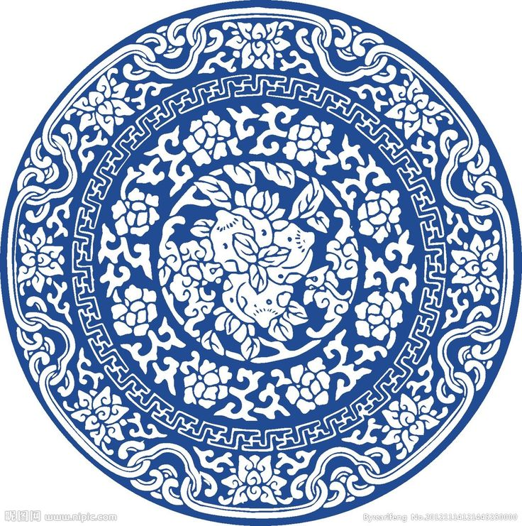 Chinese blue and black porcelain pattern