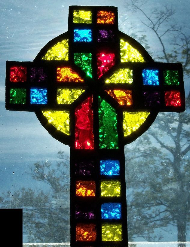 Rainbow Cross stained glass