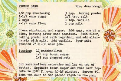 Picnic Cake ~ vintage recipe