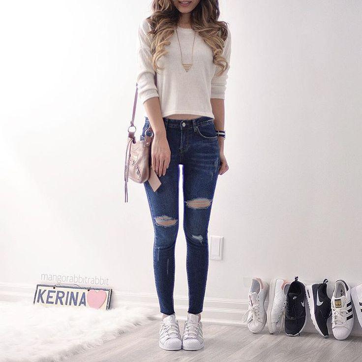 Jens rasgado, Blusinha leve branca Instagram: Liviapascoall #Blogueirinha