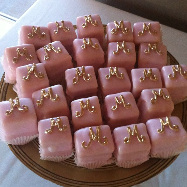 Gold and pink petit fours. Perfect for a pink party:)