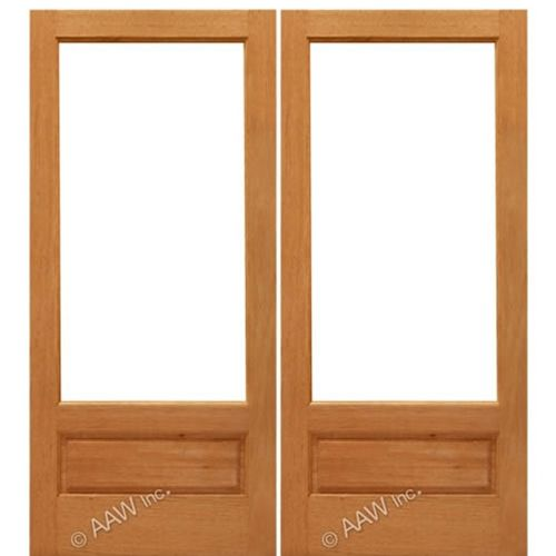 Aaw Inc Mahogany 1 Lite Panel Double Interior French Doors With Panel Bottom And Choice Of