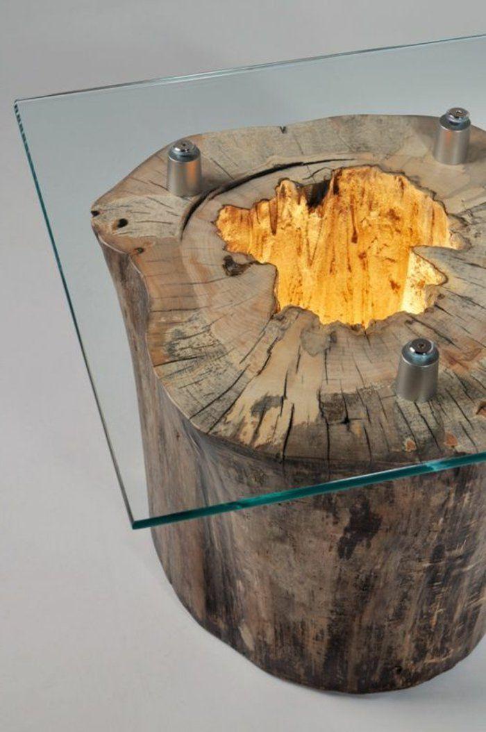 meubles en bois brut, table à café, plateau en verre