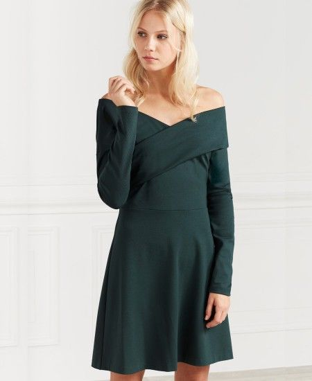 Robe verte col drapé One Step