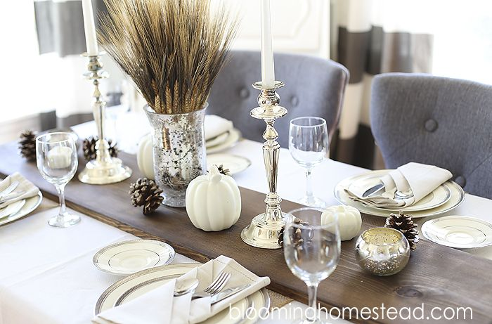 DIY Rustic Wood Table runner by Blooming Homestead | tablescape | fall decor|diy | wedding | thanksgiving centerpiece |rustic table runner