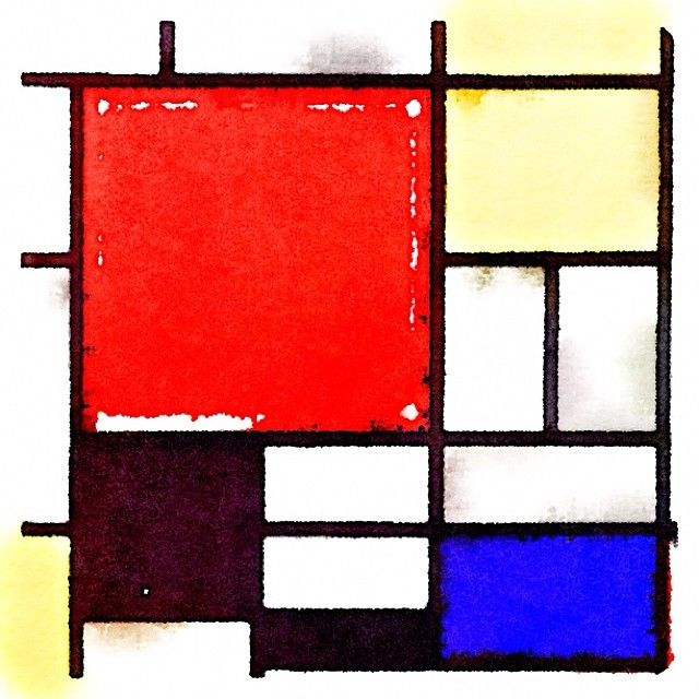 .@iasakuma   「赤、黄、青と黒のコンポジション」ピエト・モンドリアン Painted in #Waterlogue...   Webstagram