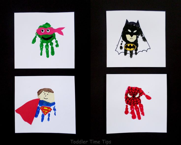 Super hero handprints!   For daily ideas, projects and activities this page is awesome!  https://www.facebook.com/toddlertimetips
