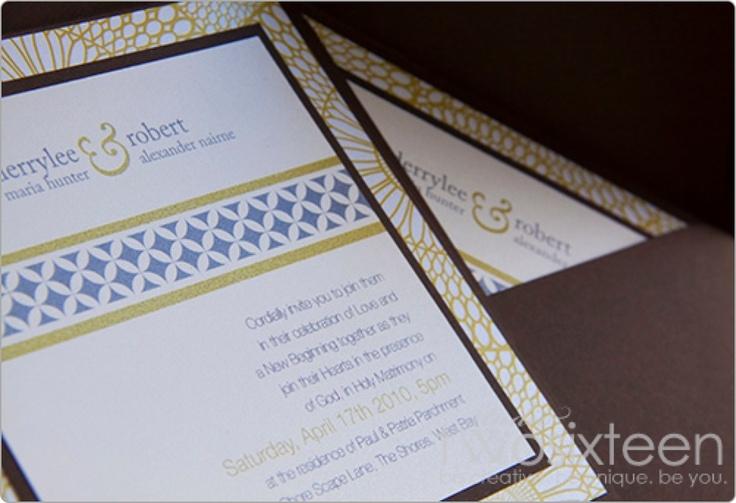 Brown & Green Wedding Invitation by Studio Two Sixteen  www.studiotwosixteen.com using #Envelopments Ecru Micah, Cocoa & Kaleidoscope