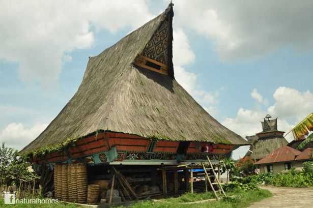 The Karo people live in the highlands north east of Lake Toba in North Sumatra. The highlands were conquered by the Dutch and in 1909 roads were constructed ending the isolation of the highland Karo. This is one of their traditional homes, a rumah. More on www.naturalhomes.org