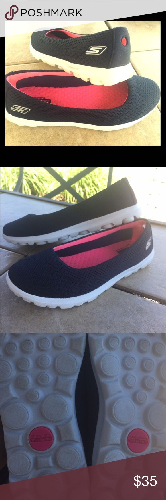 Sketchers Goga Mat Resalyte Shoes Women's Sketchers Goga Mat Resalyte shoes. Dark navy blue with bright beautiful pink soles for a cool contrast/accent.  Worn once for maybe an hour or two. In new condition! Skechers Shoes