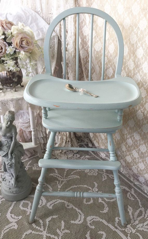 Shabby Wooden Vintage Highchair Jenny Lind Boys By Fannypippin
