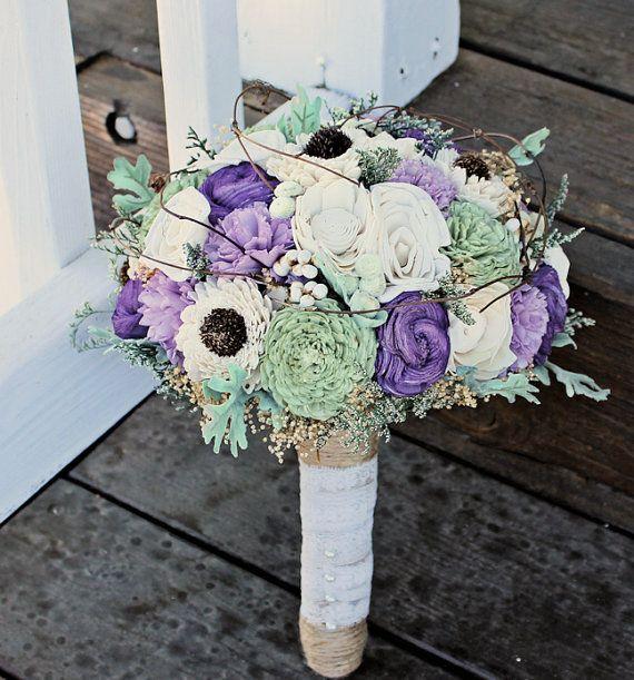 Luxe Bridal Bouquet, Sola Flowers, Alternative Bouquet, Purple Green Ivory, Dusty Miller, Wedding Bouquet, Preserved Flowers, Rustic Wedding