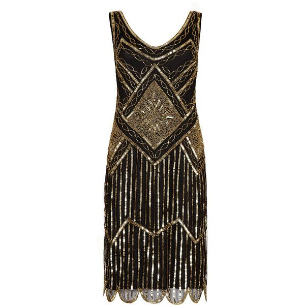 UK22 US18 AUS22 Edith Black Gold Plus size Vintage inspired 20s... ($118) ❤ liked on Polyvore featuring dresses, costumes, 1920s dress, 1920s flapper dress, flapper dress, women plus size dresses and plus size gold dress