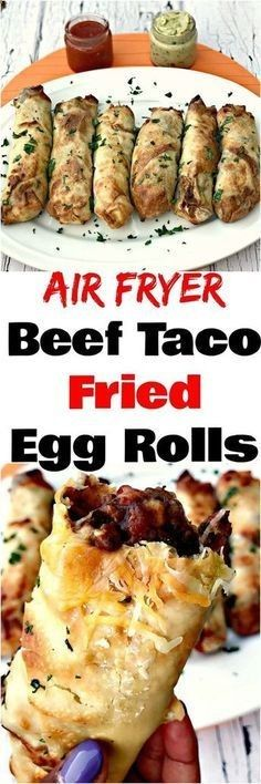 Air Fryer Beef Taco Fried Egg Rolls are a quick and easy, low-fat recipe loaded with lean, ground beef and cheese perfect for game days and Taco Tuesday.
