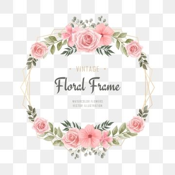 Romantic Wedding Frame With Watercolor Flowers Pattern And Circle Frame Wedding Invitation Invite Png And Vector With Transparent Background For Free Downloa Aquarela Floral Clipart De Flores Ilustracao De Rosa