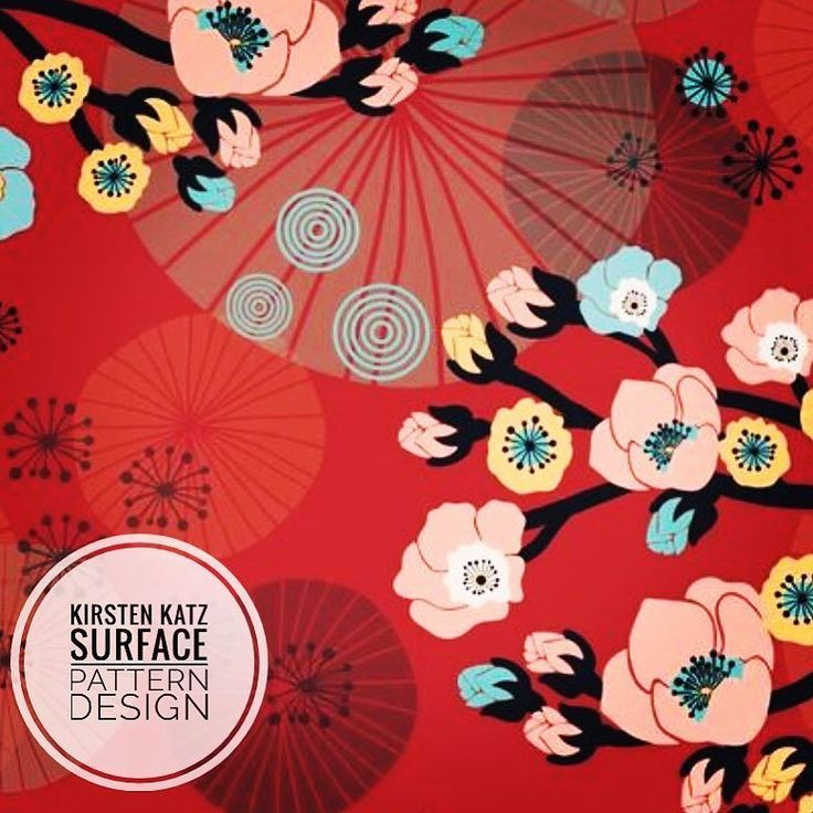 A snippet of a recent design with an oriental look #kirstenkatzdesigner #surfacedesign #printandpatterndesign #printdesign #textiledesign #giftwrapdesign #packagingillustration #orientalflowers #wallpaper #handdrawndesign #illustrationart #artlicensing