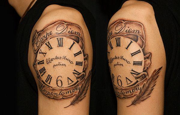 Clock Tattoo/時計をモチーフにデザインしたタトゥー/刺青作品画像  東京/TOKYO/渋谷のタトゥースタジオ TIFANA TATTOO