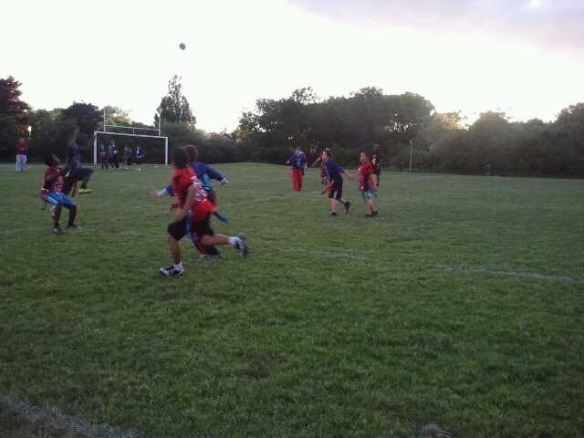 Flag Football - Game Day #1  PeeWee - kids had a blast!