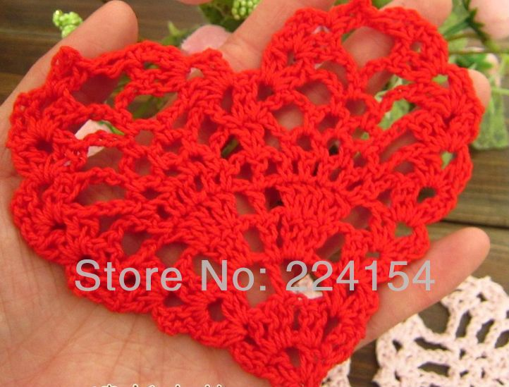Aliexpress.com : Buy 12 pcs/lot Color Options Crochet heart doilies On Sales for wedding decoration FREE SHIPPING!!! from Reliable Red doilies suppliers on Handmade Shop $8.60