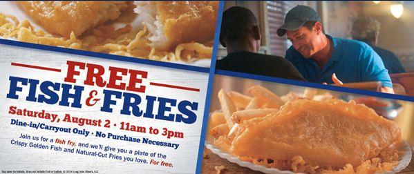 Fish libres y papas fritas en Long John Silver!  Mañana, sábado 02/08/14 se puede obtener: fr: Pescados y fritadas en Long John Silver !  Únete a Long John Silver de 11 a.m.-3 p.m. para una fritura de pescado! Crecí en Florida y Fish Fry eran el viernes -, pero, tal vez eso ha cambiado  .  Usted puede cenar o llevar a cabo sin obligación de compra a sus: vi: el pescado y patatas fritas!  : Fb:  : Resto: