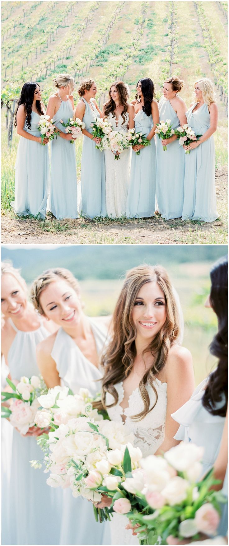 Pastel blue bridal party, white floral wedding bouquets, long bridesmaid dresses, California vineyard wedding // Rachel Solomon