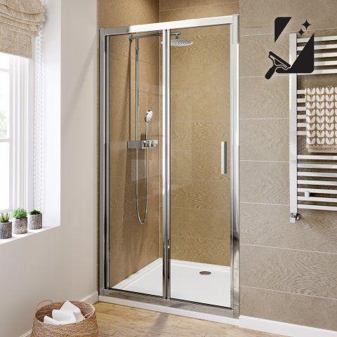 1000mm Bi Fold Easyclean Shower Enclosure 6mm Thick Glass Soak Com Shower Doors Bifold Shower Door Electric Showers