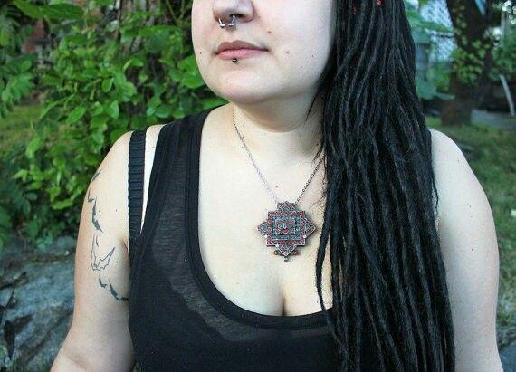 Nera modeling a beautiful hippie pendant for Hot Shaman (insta: @hot_shaman)