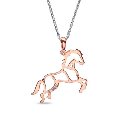 48 best horse pendants images on pinterest equestrian jewelry diamond accent stallion horse pendant in rose ion plated sterling silver zales aloadofball Choice Image