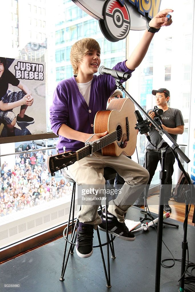 Musician Justin Bieber visits the Nintendo World Store on September 1, 2009 in New York City.