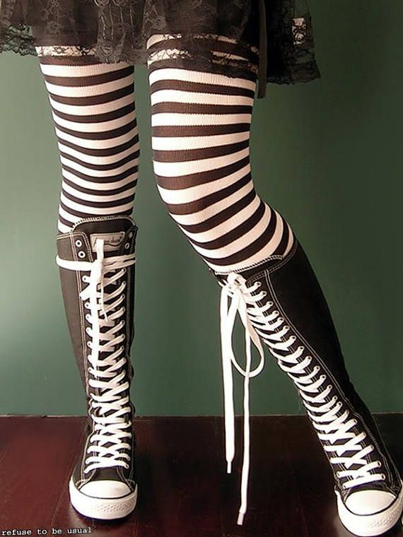 20b3b50f50565f 20 Hole Punk Rock Men Women Canvas Laceup Knee Hi Black White Sneaker Flat  Boot