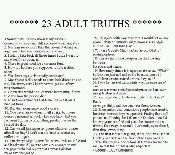 Love this!Adult Truths, Laugh, Quotes, So True, Funny Stuff, Things, So Funny, True Stories, 23 Adult
