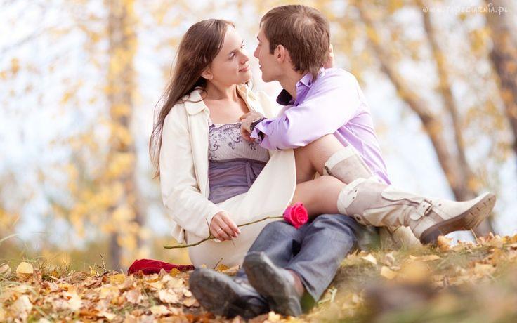 Para, Miłość, Drzewa, Liście, Róża, Jesień