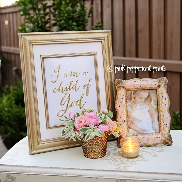"""Pink, Gold and Mint Baptism Party """"I am a child of God"""" Love this"""