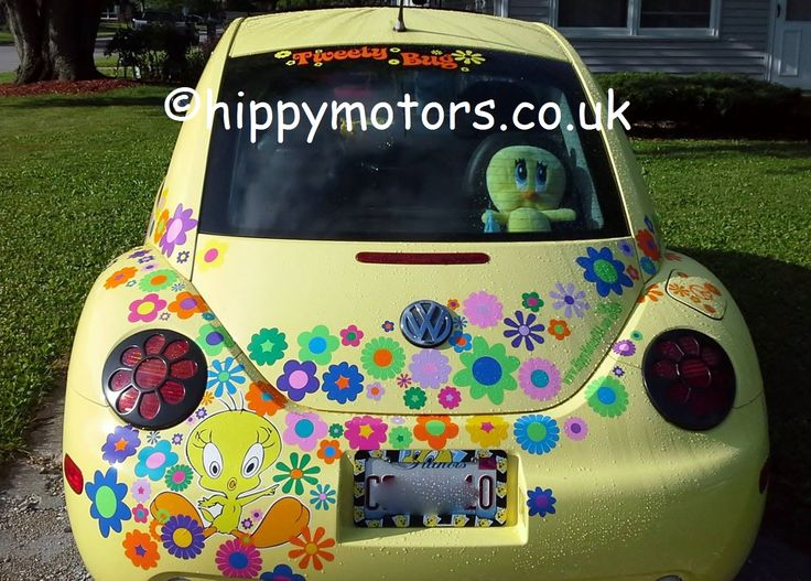 Tweety Bug, a sure way of being noticed : )) Please note we can do the wording https://www.hippymotors.co.uk/500mm+long+custom+wording+ and the flowers https://www.hippymotors.co.uk/Flowery+Make-over+car+stickers but NOT the Tweety Pie printed cartoon.