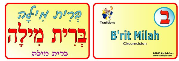 "Akhlah.com -  Hebrew flash card for ""Brit Milah"""