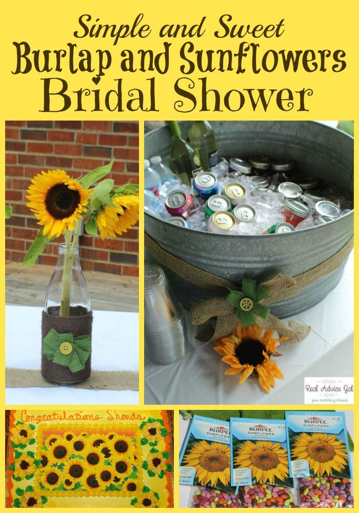 simple and sweet burlap and sunflowers bridal shower