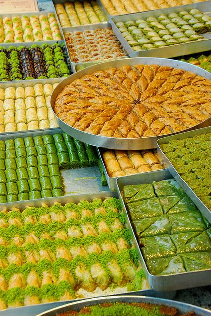 Baklava – a dessert of layered filo pastry filled with nuts and steeped in Attar syrup (orange or rose water and sugar) or honey, usually cut in a triangular or diamond shape that originates in Lebanon.