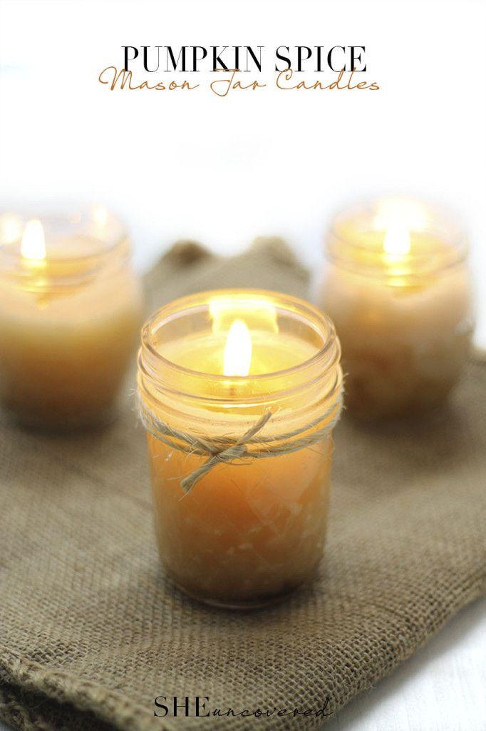 Pumpkin Spice Mason Jar Candles (SHEuncovered)