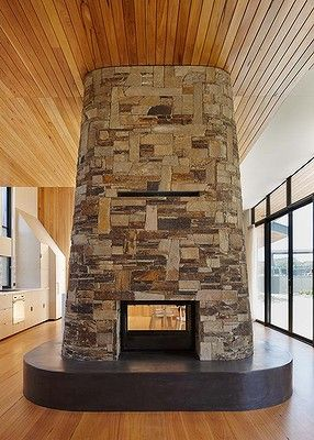 """Stone Stack - Holiday House by b-k-k.com.au. """"Fire Power: home is where the hearth is"""" July 14, 2014, SMH, Susan Redman"""