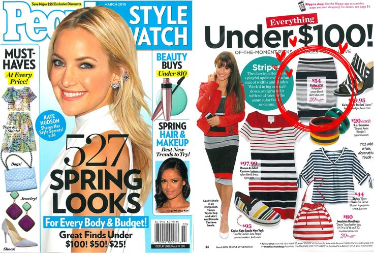potter's pot skirt is featured on march issue of people stylewatch magazine!