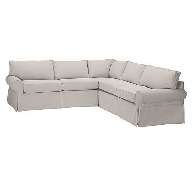 PB Basic Slipcovered L Shaped Sectional, Box Edge Polyester Wrapped  Cushions, Linen Blend Gold