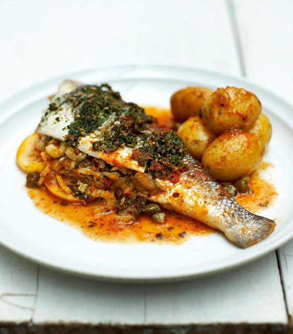 stuffed sea bass | Jamie Oliver | Food | Jamie Oliver (UK) #Seafood Visit: http://explodingtastebuds.com/