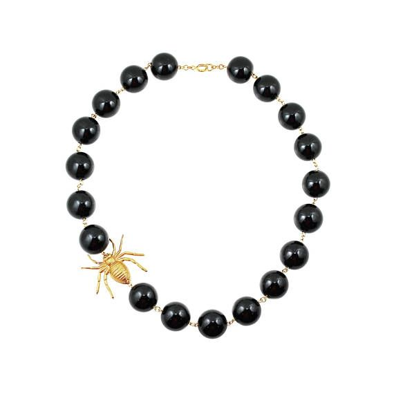 Black Statement Necklace Insect Jewelry Black Necklace