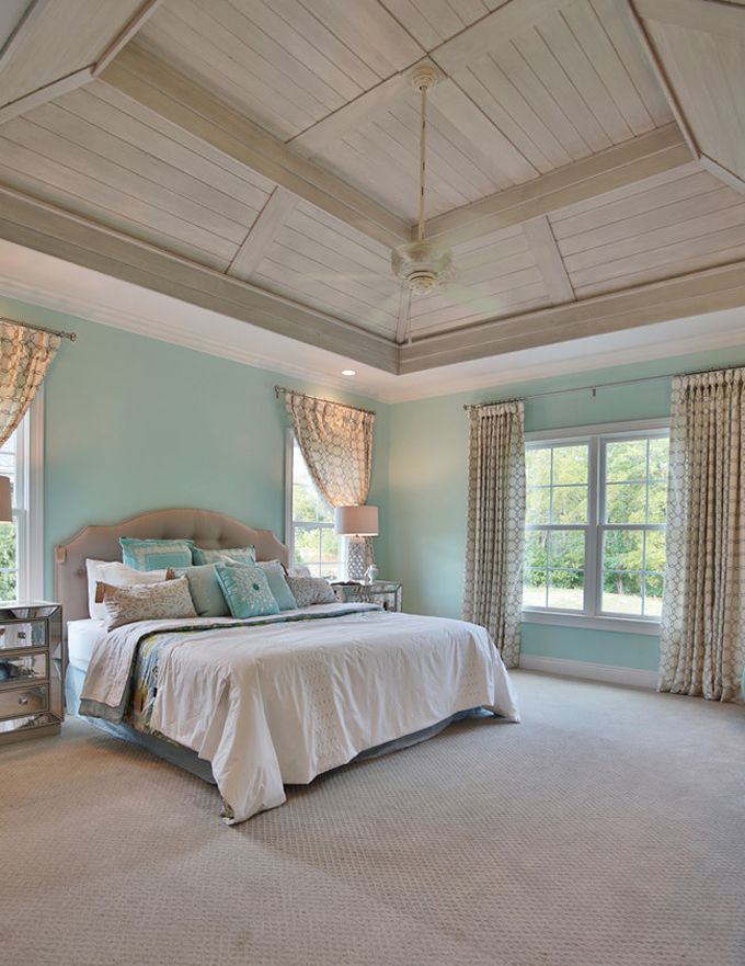 House of Turquoise: Top Ten of 2015 Wall color and wood paneled tray ceiling