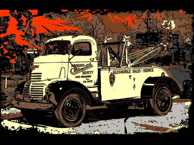 tableau peinture acrylique moderne pop art color voiture am ricaine camion d panneuse vintage. Black Bedroom Furniture Sets. Home Design Ideas