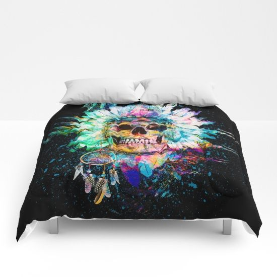 Our comforters are cozy, lightweight pieces of sleep heaven. Designs are printed onto 100% microfiber polyester fabric for brilliant images and a soft, premium touch. Lined with fluffy polyfill and available in king, queen and full sizes. Machine washable with cold water gentle cycle and mild detergent. #skull #bedding #homedecor #interiors