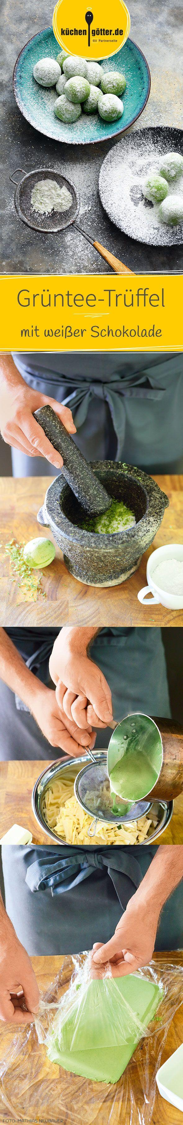 GRÜNTEE-TRÜFFEL MIT WEISSER SCHOKOLADE - Matcha Latte und Green Chai waren gestern! Zum großen Finale gibt es für die Gäste etwas ganz Besonderes: eine süße Trüffel-Kreation mit dem japanischen Teepulver. Unser Rezept für die etwas andere Praline.